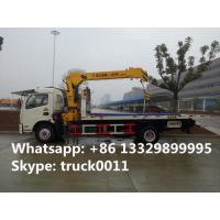 Dongfeng 4*2 flatbed wrecker tow truck with telescopic/knuckle boom crane for sale, factory sale road recovery truck Manufactures
