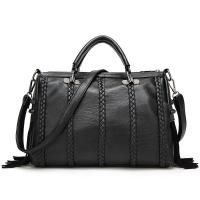 Black Cow Split Leather Fashion Ladies HandBags Tassel Weaving Decoration Manufactures