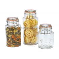 Promotional  Glass Storage Canisters with chromed clamp and airtight  lids food grade Manufactures