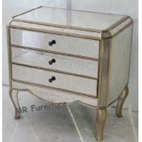 Vintage Mirrored 3 Drawer Bedside Table , Wooden Mirrored Chest Nightstand Manufactures