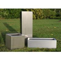 Brushed Stainless Steel Square Planters , Stainless Steel Flower Box 30-120cm Height Manufactures