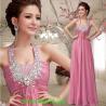 Fashion pink/red halter long evening dress 2014 slim chiffon women formal gown vestidos de fiesta free shipping Manufactures