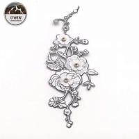 Wintersweet Large Sew On Patches , Pure White Plum Blossom Patch With Bead Material Manufactures