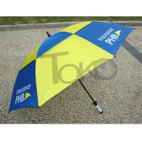 China 30 Inch Double Canopy Vented Travel UmbrellaWindproof Black Metal Shaft on sale