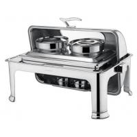 Quality Stainless Steel Rectangular Roll Top Chafing Dish Set With 2 x 4.0Ltr Soup Bucket Optional Visual Windowed Lid for sale