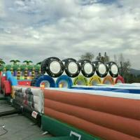 Quality 80 M Long PVC Tarpaulin Inflatable Jungle Fun Games For 100 Person for sale