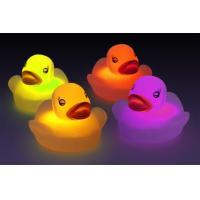 Quality Water Sensor Activated Flash Rubber Ducky Set , Flashing Light Baby Bath Temperature Duck for sale