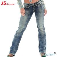 Low Waist Washed Printed Jeans For Womens Elastic Straight Dark Blue Jeans Womens Manufactures