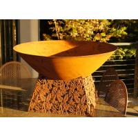Contemporary Design Corten Steel Fire Pit Bowl With Leaf Stand Rusty Finish Manufactures