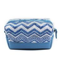 Buy cheap Custom Blue Women Jute Leather Zipper Cosmetic Bags With Compartments from wholesalers