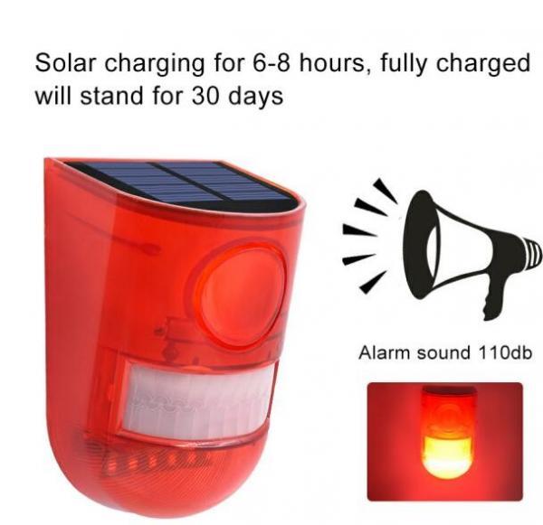 Quality 6LED 110dB Loud Sound Flashy Strobe Lights Motion Sensor Security Alarm System,Solar Powered Led Motion Sensor Light for sale