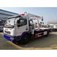 Dongfeng 5tons winch hydraulic mounted crane 3.2 ton slide tray body china rollback wrecker beds truck for sale Manufactures