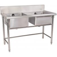 Silver Stainless Steel Double Compartment Sink 1.2mm For Restaurant With MDF Manufactures