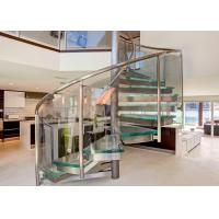 Tempered Glass Space Saving Spiral Staircase , Decorative Loft Spiral Staircase Manufactures