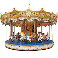 Outdoor Luxury Swing Theme Park Carousel Horse Ride With LED Lights And Music Manufactures