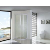 White Parallel Line Printed Curved Shower Glass Enclosure With Screws Installation Manufactures