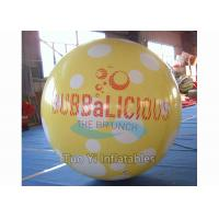 Commercial Activity Inflatable Sphere Branded Balloon White / Yellow / Blue Color Manufactures