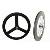 Quality 3k / 12k Finishing Carbon Track Bike Wheels Tri Spoke 23MM Width Anti Slip For for sale
