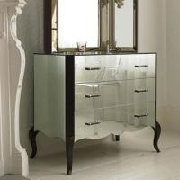 3 Drawer Mirror Furniture Set Special Curved Leg Mirrored Sidebed Table Manufactures