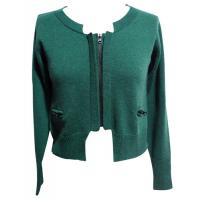 dark green womns zip pocket short knit sweaters jacket with cotton wool blended Manufactures