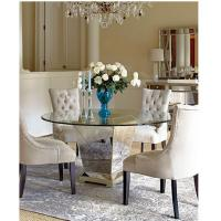 Quality Modern Round Mirrored Dining Table 60 Inches Tempered Glass Table Top for sale
