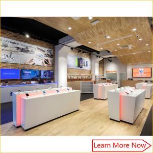 Quality Retail modern display custom interior design mobile phone shop dispaly decoration design for sale