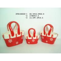 Decorative Ceramic Flower Pots Bag Shaped Xmas With Handle 20.3 X 10.5 X 20.8 Cm Manufactures