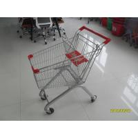 Quality 60L Steel Supermarket Shopping Carts With Flat / Auto Walk Casters for sale