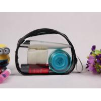 Customized Black Clear PVC Bag , Ladies Toiletry Bag With Handle Manufactures