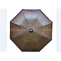 UV Print Vintage Lightweight Folding Umbrella , Gird Pattern Automatic Sun Umbrella Manufactures