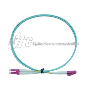 China Duplex LC-LC MM Jumper Fiber Optic Patch Cable Patch Cord OM4 Aqua LSZH Jacket on sale