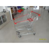 100L Low Tray Supermarket European Steel Shopping Trolley With Anti UV Plastic Parts Manufactures