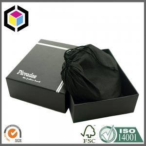 Elegant Matte Black Color Print Silver Foil Logo Paper Gift Package Box with Satin Bag Manufactures