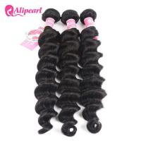 Loose Deep Wave Real Brazilian Hair Bundles , Curly Human Hair Weave Manufactures