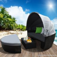 Waterproof New Wicker Outdoor Furnitures Day Bed Sun Lounge Setting Round Black Rattan Set Manufactures