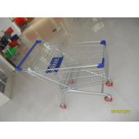 Europe Style 100L Supermarket Shopping Carts Grocery With Blue Plastic Parts Manufactures