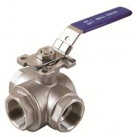 3way ball valves API stainless steel with T or L Patterm high mounting pad Manufactures