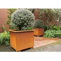 Modern Stylish Square Metal Flower Pots / Square Metal Garden Planters Corten Steel Manufactures