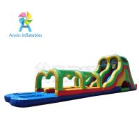 Rainbow colors Giant adult inflatable water slide pool game with best material1000D Vinyl Manufactures