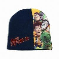 Kid's Winter/Beanie Hat with Large Heat-transfer Print and Embroidery on Front Manufactures