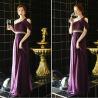 New arrival purple long prom dress 2015 one shoulder women chiffon dress vestidos de fiesta free shipping Manufactures