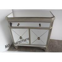 Quality Two Doors Modern Mirrored Nightstand , Gold Color Mirrored Glass Nightstand for sale