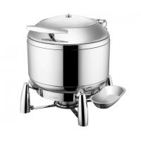 Buffet Ware Stainless Steel Cookwares Roung Soup Warmer With Glass Window / Lid 10Ltr Manufactures