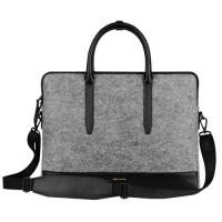 Environmental Large Messenger Business Laptop Bags Wool Felt with Leather Handle / Bottom Manufactures
