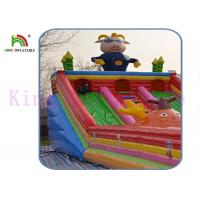 Blow Up Gbond Dry Slide / Commercial Inflatable Slide With Bouncer Play Paradise For Kids Manufactures