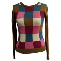 Quality colorful checked womens knit sweaters in wool blended for spring wear for sale