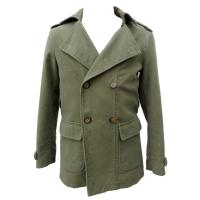 Quality Male Dark Green Microsanded Cotton Coat and Jackets With Military Collar for sale