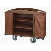 Brown Hotel Room Service Trolleys with 6 Inches PPR Casters Heavy Duty Linen Bags Manufactures