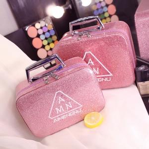 Splash Proof PU Leather Glitter Makeup Bag Case Manufactures