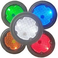 Round white blue green yellow red Solar landscaping paver brick lights stainless steel pathway lights Manufactures